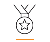 A vector image of a medal with a star on it