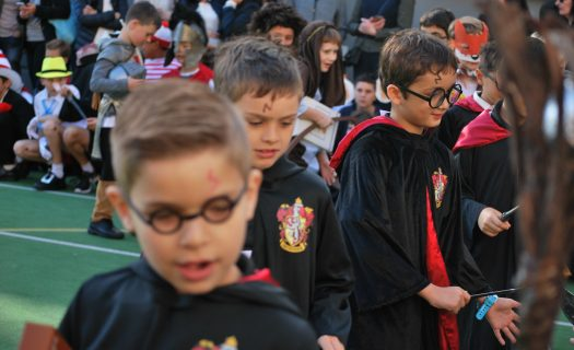 Students dressed in costumes take part in the Newington College Literature Festival.