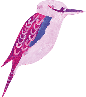 A painting of a pink and purple bird