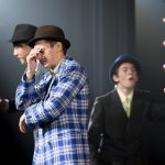 Actors on stage for the production 'Guys and Dolls'