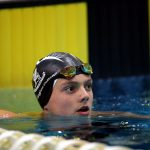 A swimmer in the pool at the AAGPS swimming championships