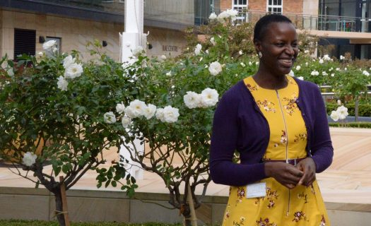 Rukevwe Bateren, Science and Head of Metcalfe House stands on the Stanmore campus.