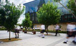 Boys walking through Stanmore campus