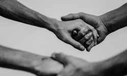 Hand holding black and white photo