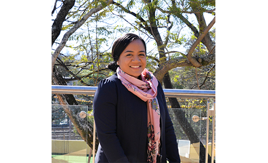 Early Learning Centre Director, Malia Puna, stands for a photo at the ELC.