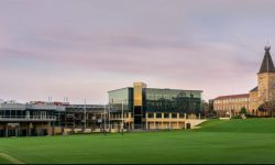 a view of Stanmore campus including Johnson Oval, the Taylor Sport Centre, Rae Centre and Founders building.