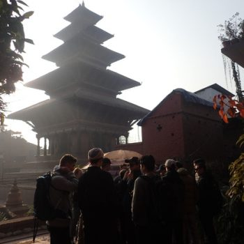 Students gather for photo in front of Temple on Nepal Tour
