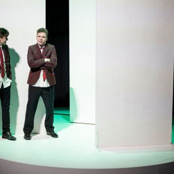 Students on stage for the production 'Love and Information'.