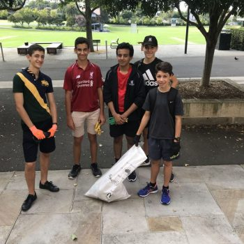 Stanmore campus students pose for a group photo on Clean Up Australia Day.