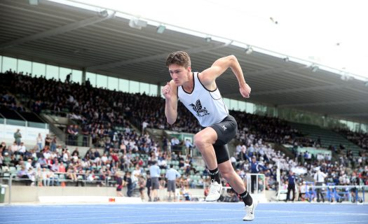 Newington student competing in an athletics event